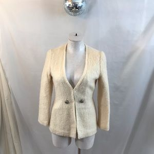 Vintage Cream Boucle Like Fitted Lined Blazer